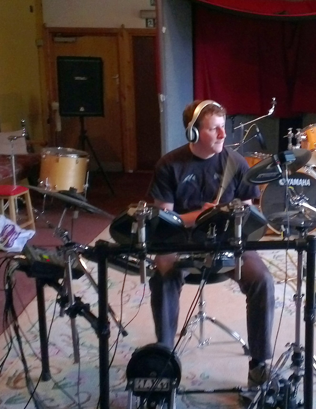 Richard sound-checks his drum kit
